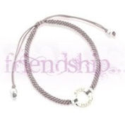 Sterling Silver Friendship Bracelet with 'Peace' Hoop and silk adjustable strap - Grey