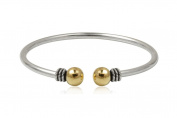 925 Silver Bangle with Gold plated and oxide surface, 6 cm diameter + Black Gift Box