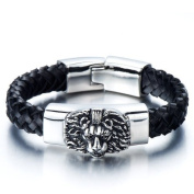 H+C Braided Leather Bracelet for Men with Stainless Steel Lion and Black Genuine Leather Straps 20cm Gothic Style