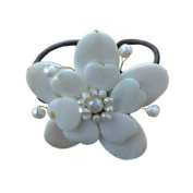 Ploy! White Mother of Pearl Cuff Shell Pearl Flower Bracelet Bangle Beach Wedding Jewellery L12C