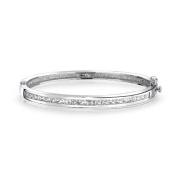 Bling Jewellery Channel Setting Princess Cut CZ Bridal Bangle Bracelet Silver Tone