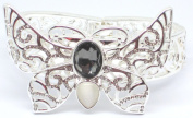 Smokey Grey Bejewelled Butterfly Silver Plated Bangle