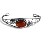 Cherry Amber Sterling Silver Victorian Cuff Bracelet 20cm