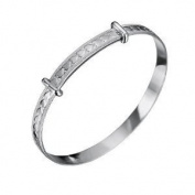 Jo For Girls Sterling Silver Babies Heart Expanding Bangle