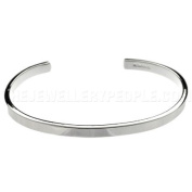 Solid Flat Edged Silver Bangle