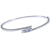 Ace Jewellery Of York Sterling Silver Half Polished Half Satin 3 CZ Set Bangle