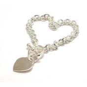 Toc Sterling Silver 26 Gramme Bracelet With Heart Charm and T-Bar Closure