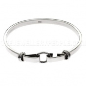 Solid Round Ring Catch Silver Bangle