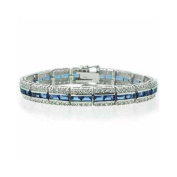 Sterling Silver Simulated Tanzanite and Simulated CZ Bracelet