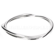2 Strand Solid Twisted Silver Bangle