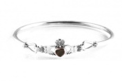 Silverspirit Jewellery Connemara Marble Stone Set Solid silver Claddagh Bangle