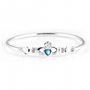 Silverspirit Jewellery Claddagh Bangle with Aquamarine Cubic Zirconia Stone