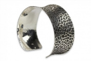 SILBERMOOS Jewellery Women´s Bangle Bracelet Solid Concave in Stingray Leather Pattern 925 Sterling Silver Blackened
