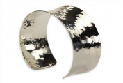 SILBERMOOS Jewellery Women´s Bangle Bracelet Concave Solid Polished Hammered 925 Sterling Silver