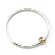 Argent Of London Sterling Silver Bangle With Two 9Ct Gold Rings
