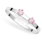 PINK ENAMEL DAISY FLOWER BABY BANGLE Bracelet - 925 Sterling Silver - Childrens Jewellery - Engravable