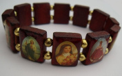 Christian Wood Bracelet with Religious Images