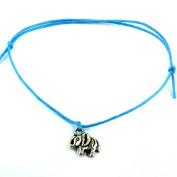 Hippy Antique Silver Lucky Elephant Friendship Karma Wish Love Peace Bracelet Cord Boho[TURQUOISE]