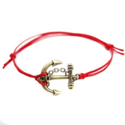 Hippy Antique Bronze Anchor Friendship Karma Wish Hope Love Peace Bracelet Cord Boho UK[RED]