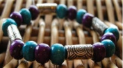 Hand Made Shades of Blue Wooden & Metalised Beads Bracelet