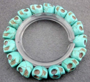 Ovalbuy Howlite Turquoise Skull Beads Buddhist Prayer Bracelet Mala