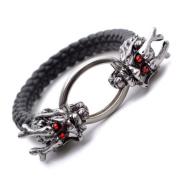 "K Mega Jewellery 12mm Black Pu Leather Dragon Crystal Wristband Mens Bracelet 8.1"" B532"