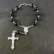 Black painted rosary bracelet with clasp 8mm beads and silver chain