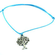 Hippy Antique Silver Tree Life Friendship Karma Wish Hope Love Peace Bracelet Cord Boho [TURQUOISE]