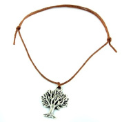 Hippy Antique Silver Tree Life Friendship Karma Wish Hope Love Peace Bracelet Cord Boho [BROWN]