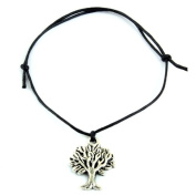 Hippy Antique Silver Tree Life Friendship Karma Wish Hope Love Peace Bracelet Cord Boho [BLACK]