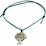 Hippy Antique Silver Tree Life Friendship Karma Wish Hope Love Peace Bracelet Cord Boho [GREEN]