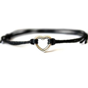 Hippy Silver HEART Friendship Karma Wish Hope Love Peace Bracelet Cord Boho [BLACK]