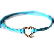 Hippy Silver HEART Friendship Karma Wish Hope Love Peace Bracelet Cord Boho [TURQUOISE]