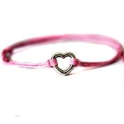 Hippy Silver HEART Friendship Karma Wish Hope Love Peace Bracelet Cord Boho [PINK]