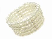 Glitz4Girlz 5 Row Stretch Pearl Bead Cuff Bracelet
