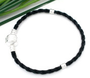 Charming Bead Store Top-Quality Black Leatheroid Charm Bracelet With Plain Snap-Lock Clasp