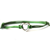 Hippy Silver HEART Friendship Karma Wish Hope Love Peace Bracelet Cord Boho [GREEN]