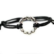 Hippy Antique Silver Forever Friendship Karma Wish Hope Love Peace Bracelet Cord Boho [BLACK]
