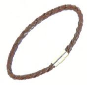 Neptune Giftware Mens Plaited Dark Brown Leather Strap Bracelet Wristband - (Max Wrist Size 20cm) - 190