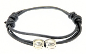 Neptune Giftware Black Leather Strap Surf Wristband Bracelet With Decorative Metal Centre Beads - 163