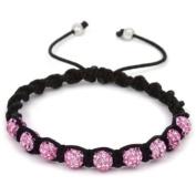Shamballa Celebrity Choice Pink Threaded Shamballa Crystal Diamante Clay Ball Bracelet