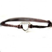 Hippy Silver HEART Friendship Karma Wish Hope Love Peace Bracelet Cord Boho [BROWN]