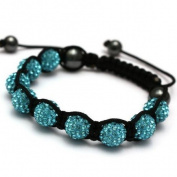 Shamballa Celebrity Choice Terquoise Blue Threaded Shamballa Crystal Diamante Clay Ball Bracelet