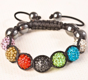 Nambeads Mixed Multi Colour Rainbow. Crystal Bead SHAMBALLA BRACELET with 9 Iced out Disco ball beads covered in crystals and 4 highly polished Hematite beads. Beautiful handmade high quality Celebrity Fashion bracelet. Cheque our range of col ..