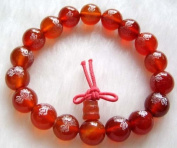 Ovalbuy Red Agate Beads Tibet Buddhist Prayer Bracelet Mala FO Lotus