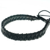black bracelet handmade from genuine leather cord adjustable by pulling knots B2 anklet