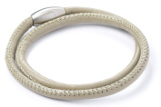 Double Taupe Leather Wrap Story Bracelet with Magnetic Clasp - WB011