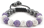 11-Ball Purple Lotus & White Shamballa Bracelet with Purple Crystals on White string
