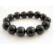 Ovalbuy BIG Black Agate Stone 14mm Bead Beaded Stretch Bracelet