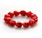 Ovalbuy Hand Crafted Red Howlite Turquoise Skull Bracelet